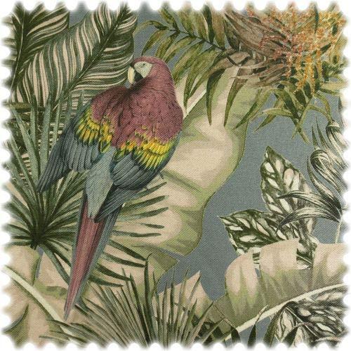 polstereibedarf-online Leinenoptik Möbelstoff Safari Papagei Grau mit Rückenkaschierung
