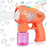 Bubble Gun for Kids,Light-Up and Musical Bubble Blower Toys with Bubble Solution,Fun Summer Indoor and Outdoor Birthday Party Gifts for Age 3 4 5 6 7 8 9+ Years Old Toddlers Boys Girls (Orange)