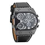 Avaner Unique Mens Analog Quartz Oversize Dial Wrist Watch 3 Time Zone Display Military Army PU Leather Strap Sport Watch Black
