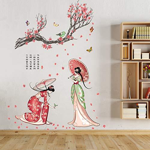 Chinese Stijl Retro Klassieke Kostuum Schoonheid Mensen Muurstickers Art Decal Creatieve Bloem Boom Dame Figuur Vlinder Vogel