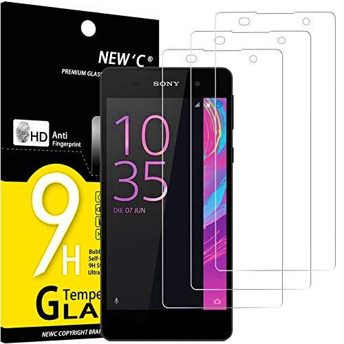 NEW'C 3 Stück, Schutzfolie Panzerglas für Sony Xperia E5, Frei von Kratzern, 9H Festigkeit, HD Bildschirmschutzfolie, 0.33mm Ultra-klar, Ultrawiderstandsfähig