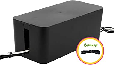 ShellKingdom Cable Management Box, Cable Organizer for Cable and Cord Management, Storage and Holder to Cover and Hide & Power Strips & Cords(Black)