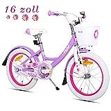 HILAND Petal - Bicicletta per Bambine da 16 Pollici, 4-7 Anni, con Cestino e Supporto, Freno a Mano e contropedale, Colore: Viola