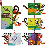 beiens Soft Baby Cloth Books, Touch and Feel Crinkle Books, for Babies, Infants & Toddler Early Development Interactive Toys, Baby Girl & Baby Boy Gift (Jungle Tails-1 Book)