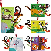 beiens Soft Toys Baby Cloth Books, Touch and Feel Crinkle Books for Babies, Infants & Toddler, Early Development Interactive Car Toys & Stroller Toys for Boys & Girls (Jungle Tails-1 Book)