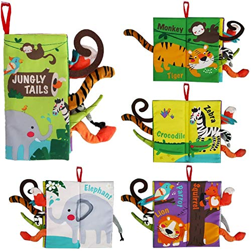 beiens Soft Baby Cloth Books Touch and Feel Crinkle Books for Babies Infants amp Toddler Early Development Interactive Stroller Toys Baby Girl amp Baby Boy Gift Jungle Tails1 Book