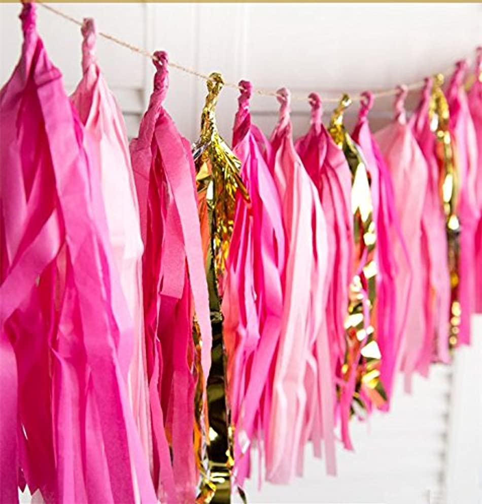 16 X Hot Pink Tissue Paper Tassels for Party Wedding Gold Garland Bunting Pom Pom
