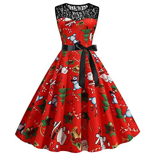 AOCRD Vestido de Navidad para mujer, de encaje, de noche, con cuello redondo, sin mangas, elegante, cintura alta, estilo Hepburn, vestido de cóctel, fiesta, festival, Xmas, verde., S