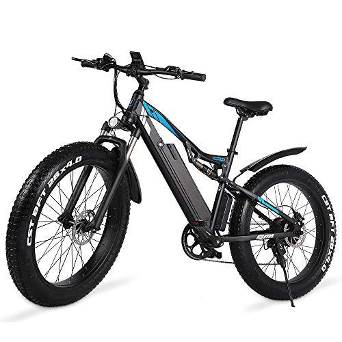 GUNAI Bicicleta de Montaña Eléctrica 1000w, Bicicleta de Nieve de 26 Pulgadas con Pantalla LCD y Freno Hidráulico de Disco