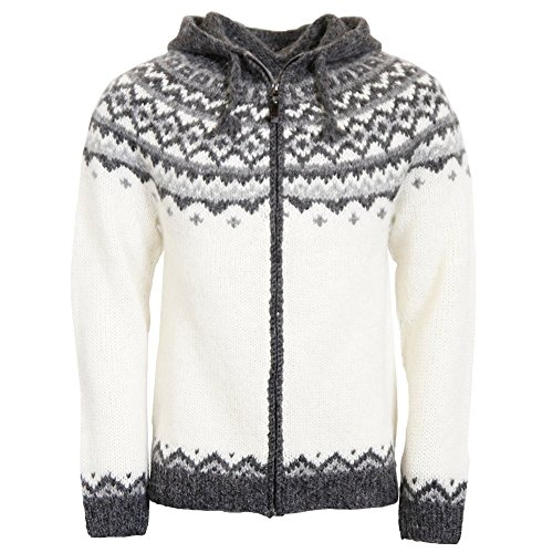 ICEWEAR Skjoldur Men's Sweater Hand Knitted Design - 100% Icelandic Wool Jumper with Zip and Hood Design | White - Large