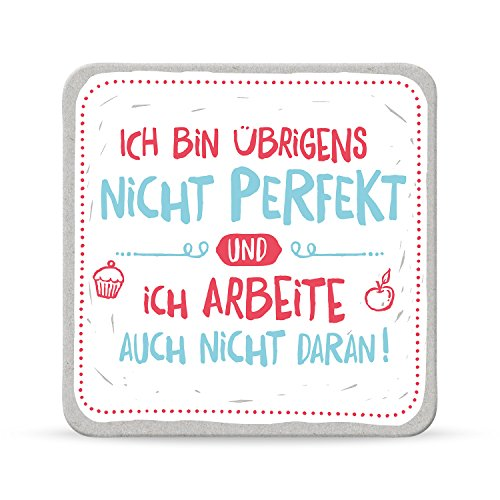 Sheepworld, Happy Life - 44591 - Untersetzer Nr. A17, Ich bin übrigens nicht perfekt und ich arbeite auch nicht daran!, Kork, 9,5cm x 9,5cm