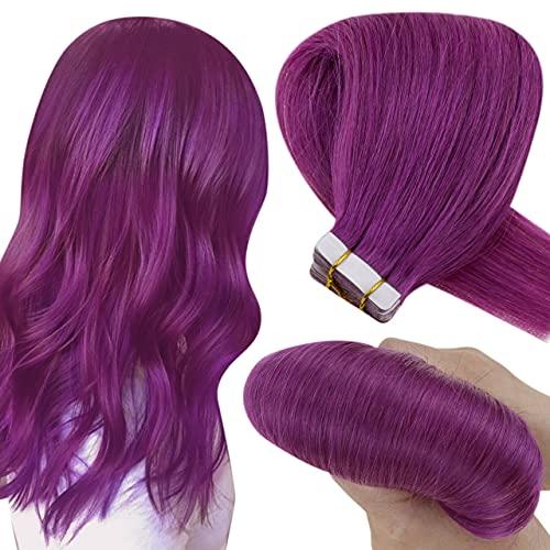 Hetto Purple Remy Tape in Extensions Violett Tape in Human Hair Extensions Skin Weft Haarverlangerung Tape Echthaar 10 Tressen 20g 14 Zoll