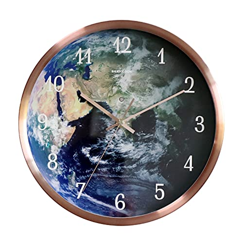 Reloj de Pared de la luz de la luz de la luz de la inducción activada por Voz: Tierra, Reloj Luminoso, Reloj de Pared Luminoso Creativo, Elegante y Simple,Rose Gold