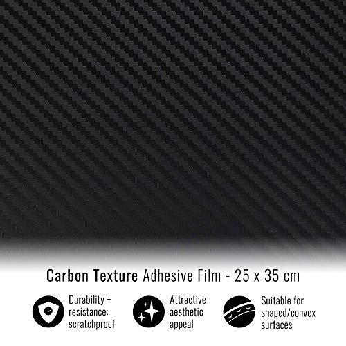 4R Quattroerre.it 16249 Foglio Pellicola Adesivo Carbon Look, 25 x 35 cm