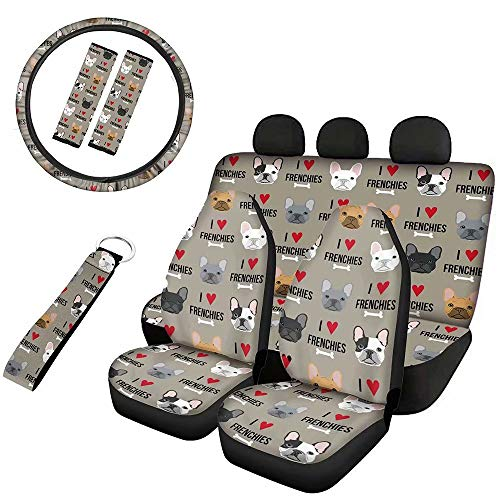 Horeset French Bulldog Vehicle Seat Protector 8 Pcs Full Set with Lanyards Key Ring/Cars 15' Steering Wheel Cover/Seat Belt Covers Comfortable Polyester Fabric for Family Cars Interior