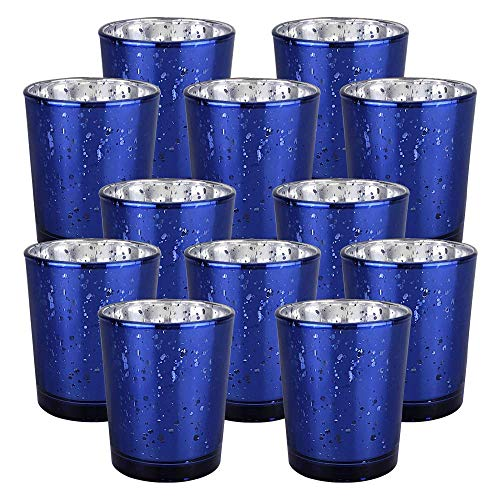 Just Artifacts Mercury Glass Votive Candle Holder 2.75-Inch (12pcs, Speckled Navy Blue) -Mercury Glass Votive Tealight Candle Holders for Weddings, Parties and Home Décor