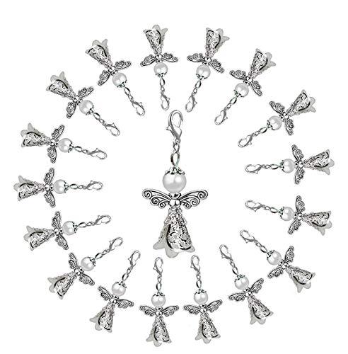 ENSTAB 36 Stück Engel Anhänger Weiß für Hochzeit Konfirmation Geburtstag Weihnacht Taufe Kommunion Party Mitbringsel Anhänger Perlenengel