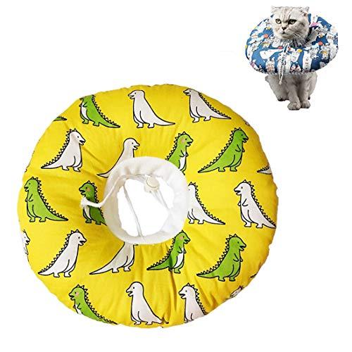 VICTORIE Haustiere Schutzkragen Wiederherstellung Schutzhalsband Halskrause Pflege Wunde Hals Leckschutz Bissschutz für Katzen Hunde Welpen Kätzchen Gelb M