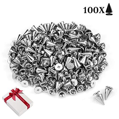 100 Stück Punk Ziernieten Silber Schraubennieten DIY Handwerk Killernieten Spitz Metall Nieten Schrauben für Leder Taschen, Lederband, Kleidung, Schuhe, Armbänder,Hut,Mäntel,Kleidung Handschuhe 7×10mm
