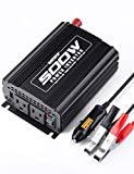 [ INVERTERTEK 500WATT POWER INVERTER ]: It provides 1000 Watt of peak power, comes with battery clamps and cigarette lighter adapter. [ SMALL YET POWERFUL ] Dual 110V AC outlets and USB charging ports:Ideal for for charging tablet,game player, kindle...