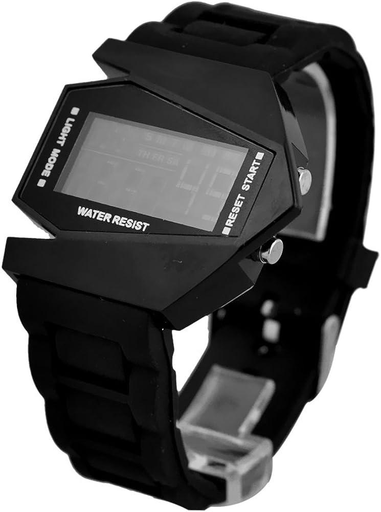 Elegant Plane Style Digital Display Wrist Watch LED Silicone 5 favorite ☆ popular Bla