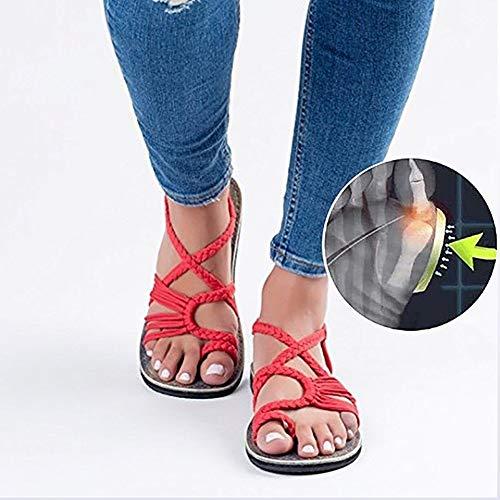 YISHIO Verano Femenino Enderezar Roma Nudo Playa Zapatos Abiertos del pie Zapato Plano Corrección Dedo Gordo Sandalias de Mujer-Corrector juanete ortopédicas Toe Moda Chanclas Zapatillas Vendaje