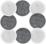 MYSA Products HOMITT Replacement Pads 6.5in Diameter - Compatible with HOMITT/GOBOT/OGORI Spin Scrubber Mops - Microfiber Washable Re-usable   4 Soft Pads + 4 Scrubby Pads   8 Pack