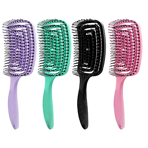Prevent Hair Loss Hair Brush - Curved & Vented & Oversize Design Detangling Hair Brush for Women Long, Thick, Curly and Tangled Hair Blow Drying Brush (Black)