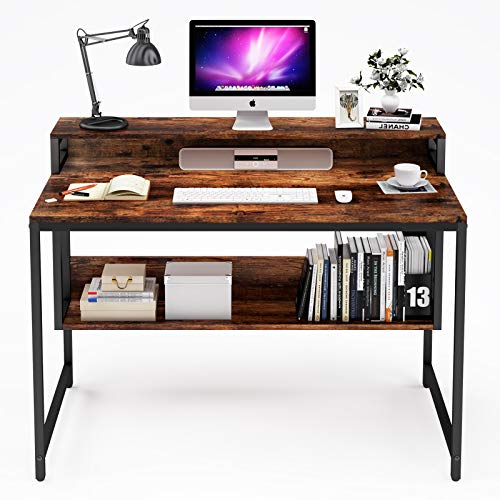 "Kayle Computer Desk Table with Storage Shelf and Bookshelf, Home Office Writing Study Laptop Table with Monitor Shelf Modern Industrial Style Space Saving Design (Rustic Brown, 55"")"