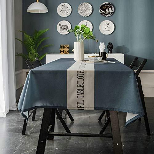 Family Life Equipment Polyester-Tischdecke Staubdichte, knitterarme, wasserdichte Tischdecken für rechteckige Tische Einfarbig mit Buchstaben in der Mitte Tischdecke für Dinnerpartys Tischdecke Gra