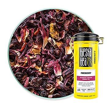 Tiesta Tea - Fireberry Loose Leaf Cranberry Hibiscus Rooibos Tea Non-Caffeinated Hot & Iced Tea 5 oz Tin - 50 Cups Natural Flavored Hibiscus Rooibos Tea Loose Leaf