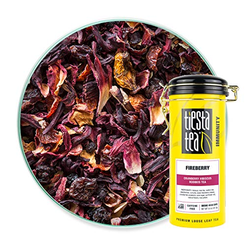 Tiesta Tea, Fireberry, Loose Leaf Cranberry Hibiscus Rooibos Tea, Non-Caffeinated, Hibiscus Tea,  Tea Tin Canister - 50 Cups, 5 Ounce