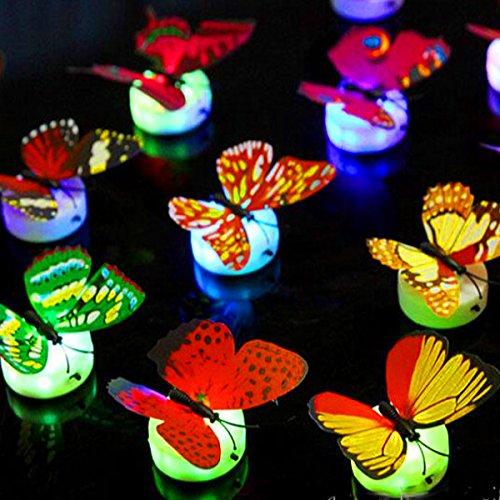 German-Trendseller ® - 1 x Papillon avec LED éclairage┃ LED décoration┃Ambiance ┃Changement de Couleurs┃ Surface adhérent