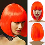 Short Bob Wigs With Straight Bangs 12Inch Short Synthetic Fiber Bob Wigs for Women Short Bob Wigs and Black Color Bob Wig With A Free Wig Cap(Orange)