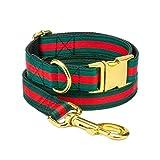 Collare di Lusso Firmato e Guinzaglio per Cani Regolabile a Verde Rosso a Righe - Collari per Animali Domestici Fatti a Mano Taglia Piccola Media Grande
