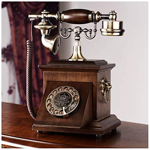 Teléfono Retro Teléfono Vintage Europeo Oak Cuerda Soltero y Doble Teléfono Teléfono Sólido Madera Sólida Dial Rotary Metal Hogar Teléfono Fijo Línea Fija (Tamaño: a) (Tamaño: A) (Size : B)