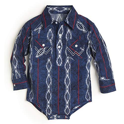 Wrangler baby boys Long Sleeve Snap Body Suit Shirt, Blue, 0-3 Months US