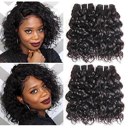 8a Brazilian Water Wave Bundles, Short Wet and Wavy Human Hair Bundles for Black Women, Brazilian Curly Weave 4 Pcs 100% Unprocessed Ocean Wave Hair Extensions (8 8 8 8,50g)