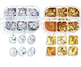 2 Boxes Holographic Gold Silver Nail Glitter Sequin Laser Nail Art Design Sparkly Shiny Nail Art Supplies Love Heart Star Moon Paillette Slice Sugar Powder Nails Flakes Stickers Charms Nail Decals