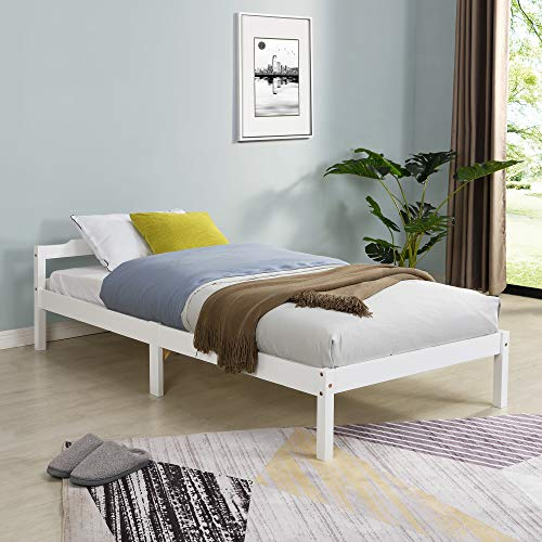 Cherry Tree Furniture Curran FSC-Certified Solid Wood Bed Frame (White, UK Single)