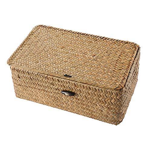 Vosarea Rattan Storage Basket Makeup Organizer Multipurpose Container with Lid (S)