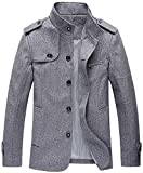 chouyatou Men's Military Stylish Single Breasted Natural Fit Stripe Lined Wool Pea Coats (Medium, Grey)
