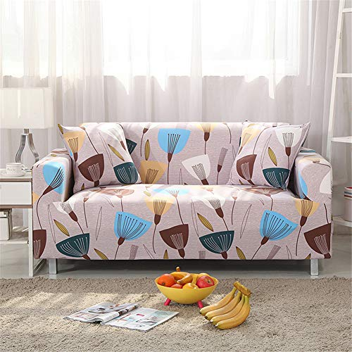 nordmiex Stretch Sofa Slipcovers Fitted Furniture Protector Printed Sofa Cover Stylish Fabric Couch Cover with 2 Pillowcases for 4 Cushion Couch(4 Seater Sofa,Dandelion)