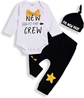 WonderBabe Toddler Baby Boy Clothes Round Neck Long Sleeve Hooded Plaid Stripe Letter Print Sweatshirt Tops Pants 2-Piece Outfit