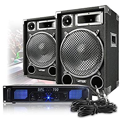 "MAX12 12"" Speakers Power Amplifier DJ Disco PA Home Hifi Karaoke Party 1200W Set"
