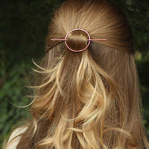 Aukmla Simple Hair Clip Hair Pins Circle Hair Accessories Jewelry for Women and Teen Girls (Rose Gold)
