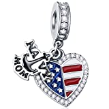 Navy Mom Anchor Charms with American Flag Enamel, fit Pandora Bracelet Necklace 925 Sterling Silver Engraved I Love USA Heart CZ Pendant Beads, Gifts for Mothers Day/Birthday/Thanksgiving