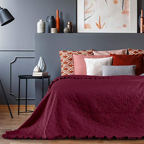 AmeliaHome Laila Velvet Tagesdecke, Polyester, Tilia Weinrot, 200x220 cm