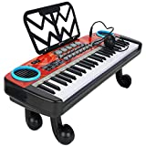 Kids Piano Keyboard 49 Keys with Microphone, 49 Keys Multifunction Electronic Piano Kids Keyboard Music with Microphone - US in Stocks (Black & White)