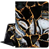 RicHyun iPad 9.7 Case Marble, iPad Air 1/2 Case, Protective Leather Case with Soft Rubber Back Cover, Adjustable Stand Auto Wake/Sleep Smart Case for Apple iPad 6th 5th Gen (Black Marble)
